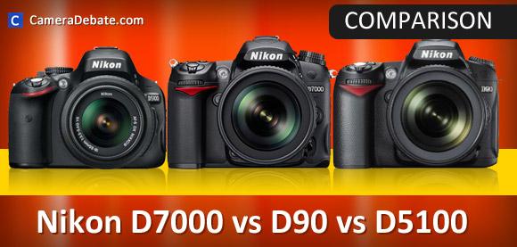 Nikon D7000, D90, D5100 cameras side by side
