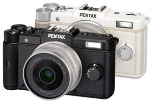 Two Pentax Q Cameras in white and black