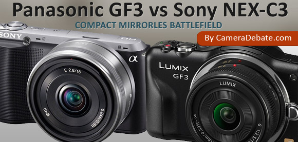 Panasonic GF3 and Sony NEX-C3 cameras side by side