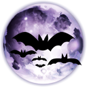 moon at night with bats silhouette