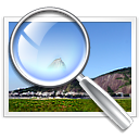 magnifying glass on image, inspecting quality