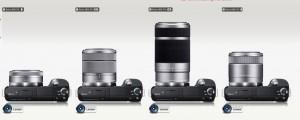 Sony NEX-F3 with various E-mount interchangeable lenses
