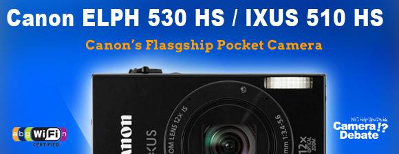 Canon IXUS 510 HS pocket camera on blue background