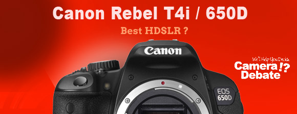 Canon Rebel T4i camera on red background