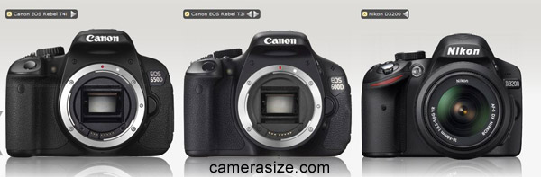 Canon T4i vs T3i vs Nikon D3200 size comparison