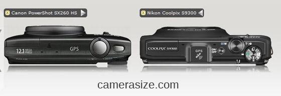 Nikon S9300, Canon SX260 HS top view comparison