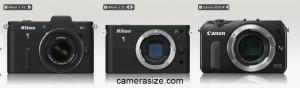Canon EOS M vs Nikon 1 J1, V1