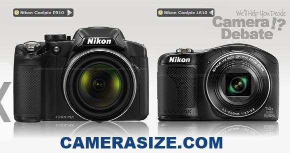 Nikon L610 vs P510 size comparison