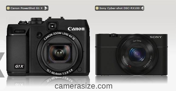 Canon G1 X vs Sony RX100 size comparison