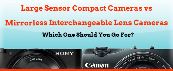Sony and Canon cameras on cyan background