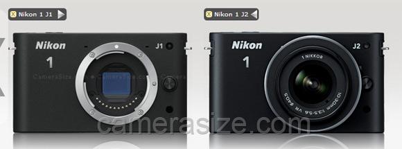 Nikon 1 j1 vs j2 size comparison