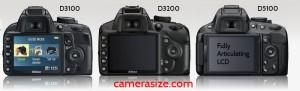 Nikon d3100, d3200, d5100 back view side by side