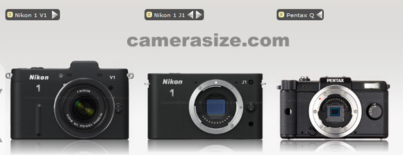 Pentax Q vs Nikon 1 V1 and J1 size comparison