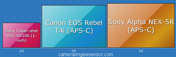 1-inch vs APS-C sensor size comparison