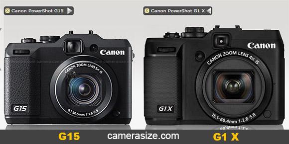 Canon PowerShot G15 vs G1 X size comparison