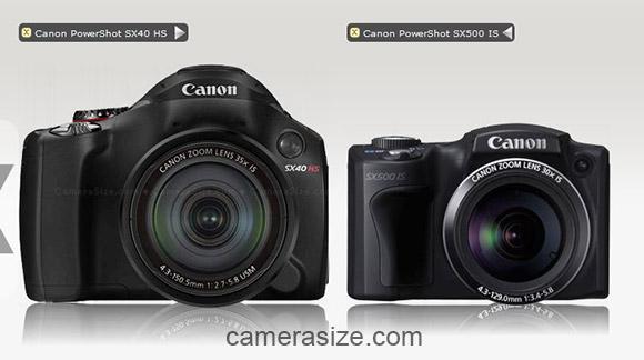 Canon SX40 HS vs SX500 HS size comparison