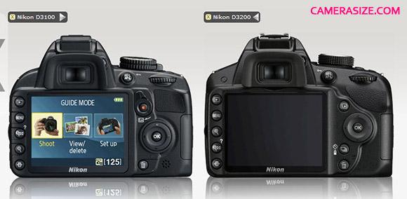 Nikon D3200 vs D3100 (rear)