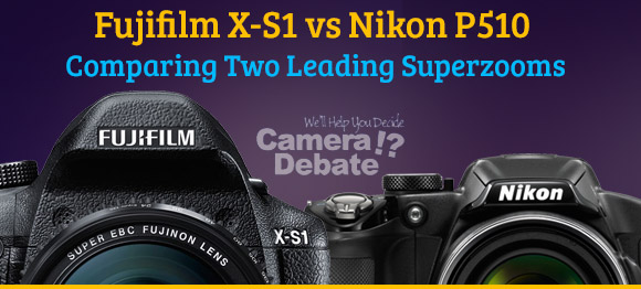 Fujifilm X-S1 and Nikon P510, two superzoom cameras on purple background