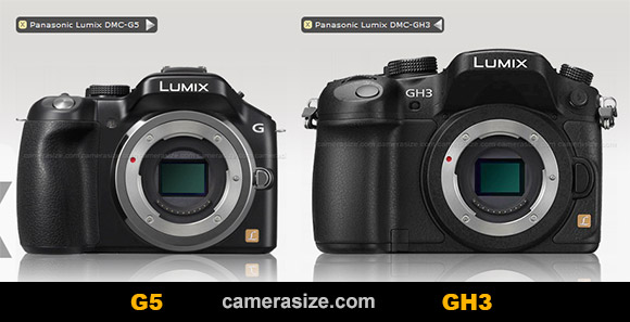 Panasonic G5 and GH3 mirrorless cameras side by side