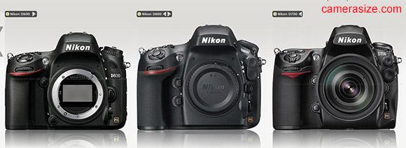 Nikon D600, D700, D600 cameras side by side