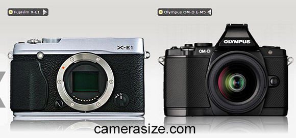 Fujifilm X-E1 and Olympus OM-D E-M5 cameras side by side