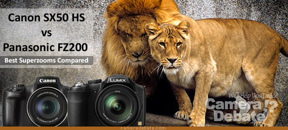 Panasonic FZ200 and Canon SX50 HS cameras with lions in the background