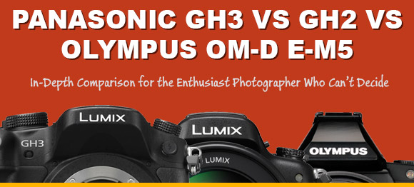 Panasonic GH3, GH2 and Olympus E-M5 on orange background