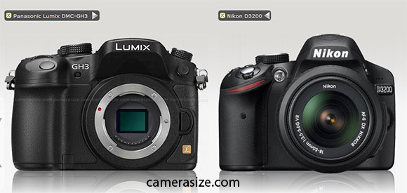 Panasonic GH3 alongside Nikon D3200