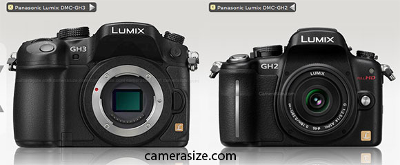 Panasonic GH3 and GH2 size comparison