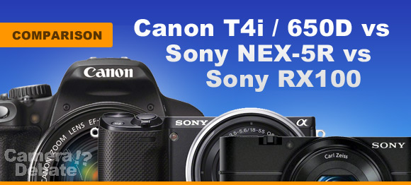 Sony RX100, NEX-5R and Canon 650D digital cameras