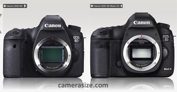 Canon EOS 6D, 5D Mark III size copmarison