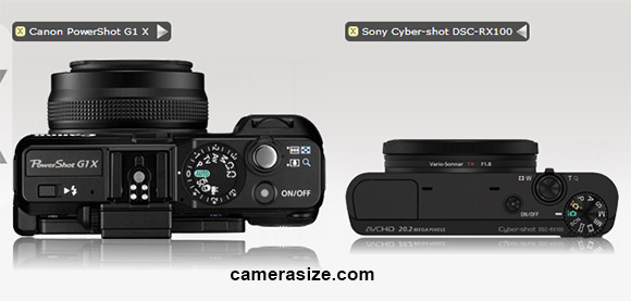 Top view, Canon G1 X and Sony RX100