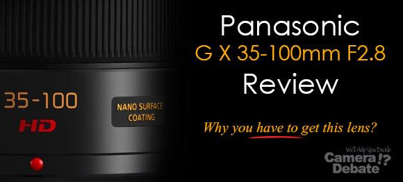 Panasonic G X 35-100 mm F2.8 lens on dark background