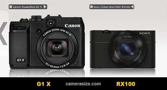 Sony RX100, Canon G1 X side by side
