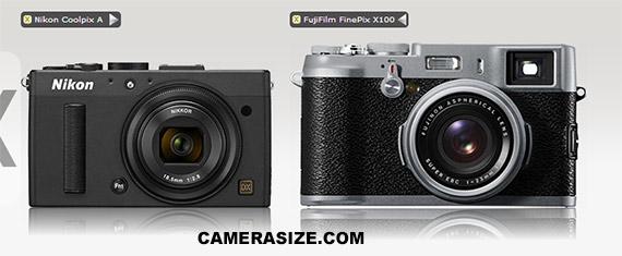 Nikon Coolpix A vs Fujifilm X100 size comparison