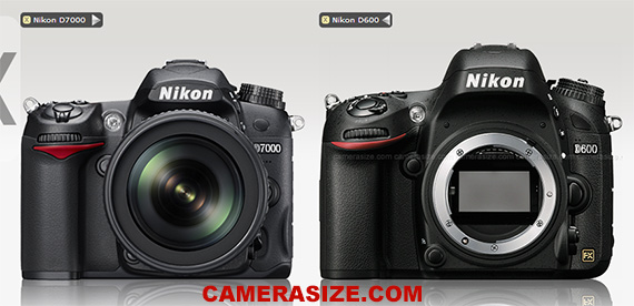 Nikon D600 vs D7000 size comparison