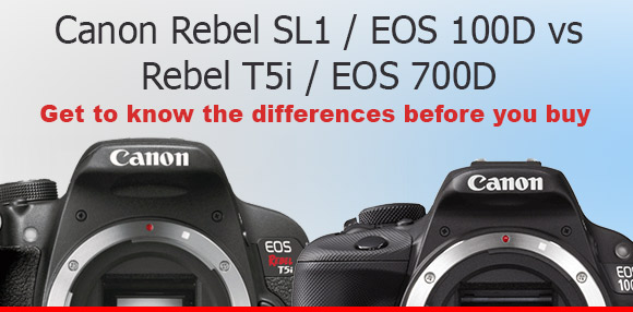 Canon Rebel SL1 and T5i dslr cameras