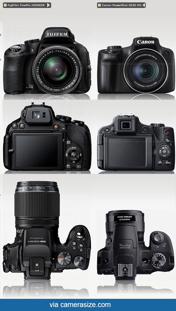 Canon Sx50 HS vs Fujifilm HS50EXR cameras size comparison