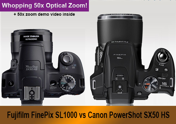 Fujifilm SL1000 and Canon SX50 HS superzoom cameras banner