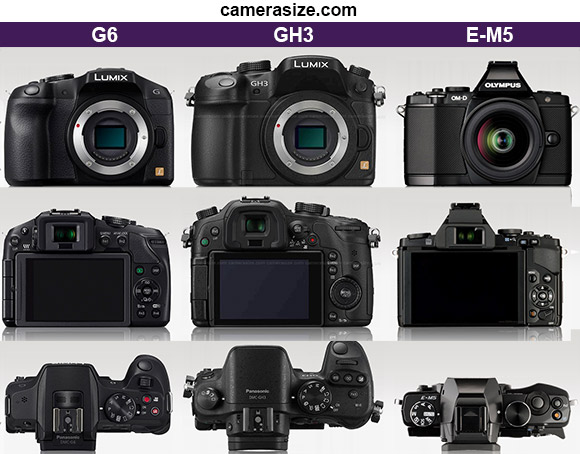 Panasonic GH3, G6 and Olympus OM-D E-M5 size comparison