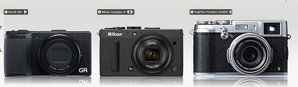 Ricoh GR, Nikon Coolpix A and Fujifilm X100S size comparison