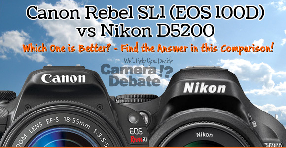 Canon SL1 100D and Nikon D5200 cameras with cloud background