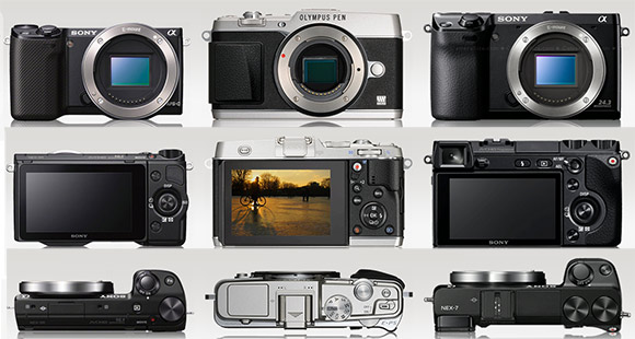 Sony NEX-5R, NEX-7 and Olympus E-P5 side by side