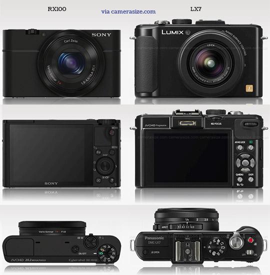 Sony RX100 vs Panasonic LX7 camera size comparison
