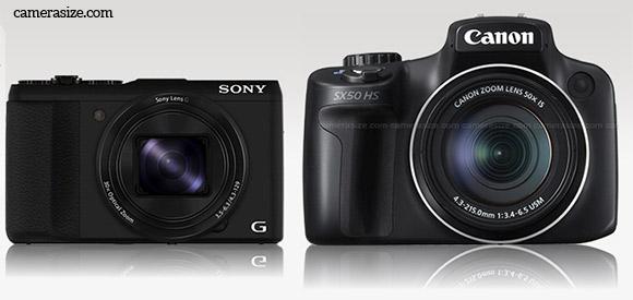 Sony HX50V vs Sony SX50 HS size comparison