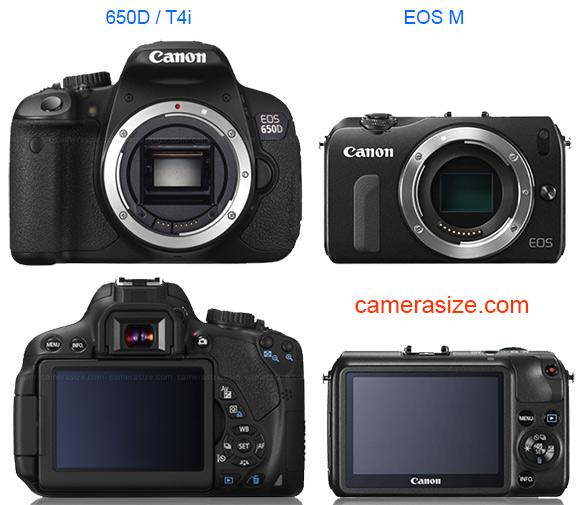 Canon EOS M vs Rebel T4i 650D size comparison