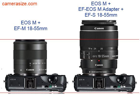 Canon EOS M EF-M 18-55mm vs EF-EOS M adapter and EF-S 18-55mm lens