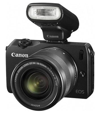 Canon Speedlite 90EX flash mounted on Canon EOS M