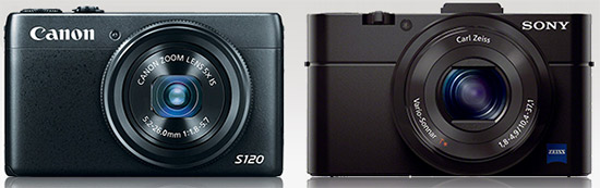 Canon S120 and Sony RX100 II compact digital cameras