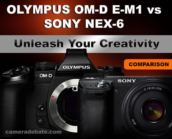 Olympus OM-D E-M1 and Sony NEX-6 cameras side by side